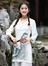 Hot Sale Traditional Chinese style Women s Shirt Top Cotton Linen Blouse Mujeres Camisa Size S