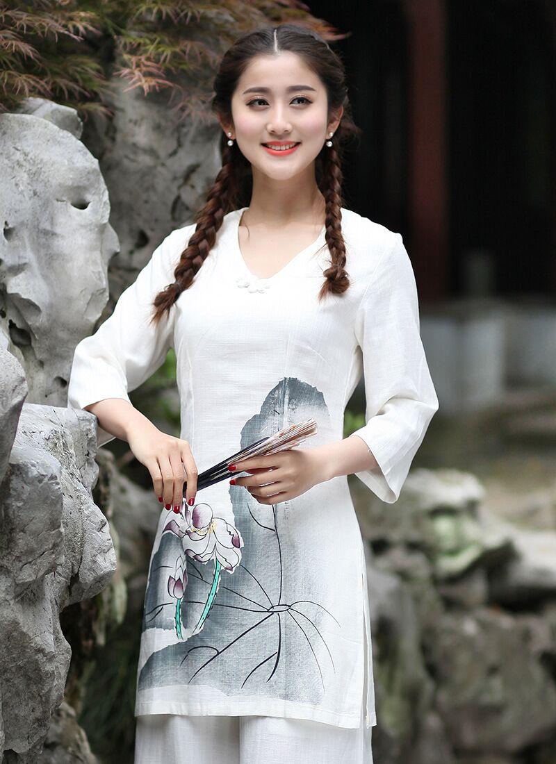Hot Sale Traditional Chinese style font b Women s b font Shirt Top Cotton Linen font