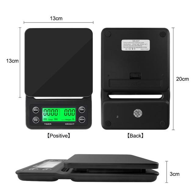 3kg/0.1g 5kg/0.1g Drip waga do kawy z zegarem przenośna elektroniczna cyfrowa kuchenna skala wysokiej precyzji LCD wagi elektroniczne