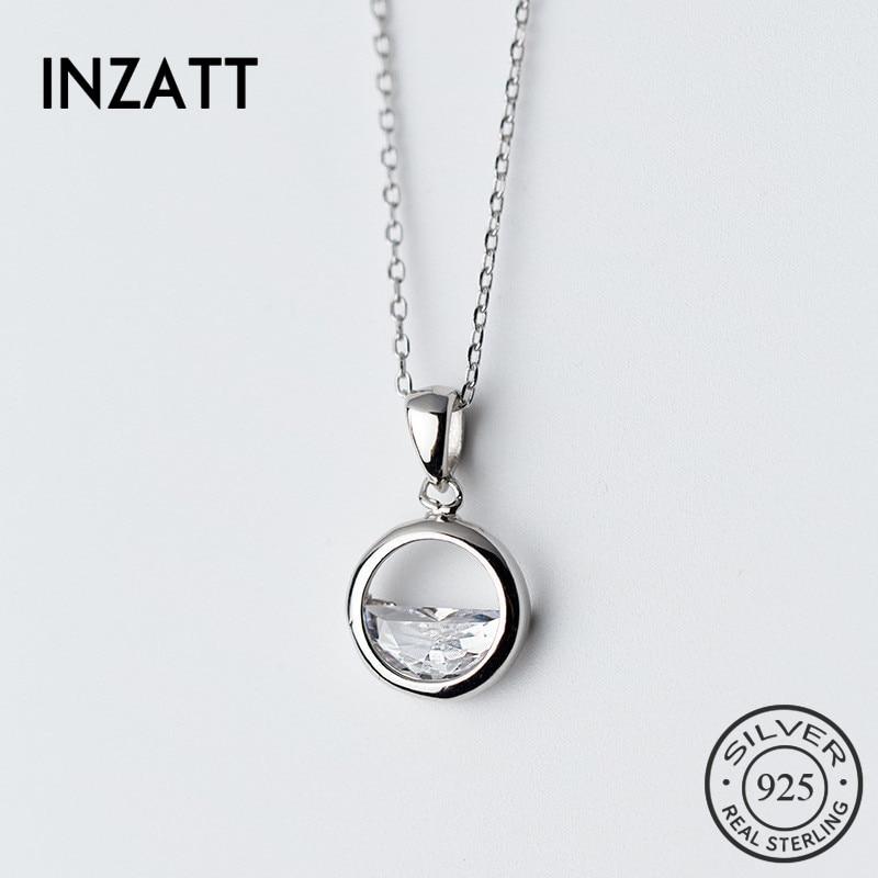 HTB10NQWq8jTBKNjSZFwq6AG4XXaS INZATT Real 925 Sterling Silver Crystal Round Minimalist Pendant Necklaces Minimalist Fine Jewelry For Women Party Accessories