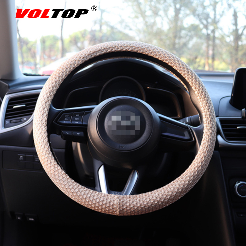 VOLTOP Summer Ice Silk Mesh Steering Wheel Cover Accessories Colorful Car Ornaments Universal 36 38cm Breathable Non slip in Ornaments from Automobiles Motorcycles