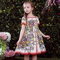 Flor de las muchachas Niños Castillo Partido Príncipes Trajes de Algodón de Verano Casual Majalica Vestidos Patrón de Impresión de Ropa Para Niños