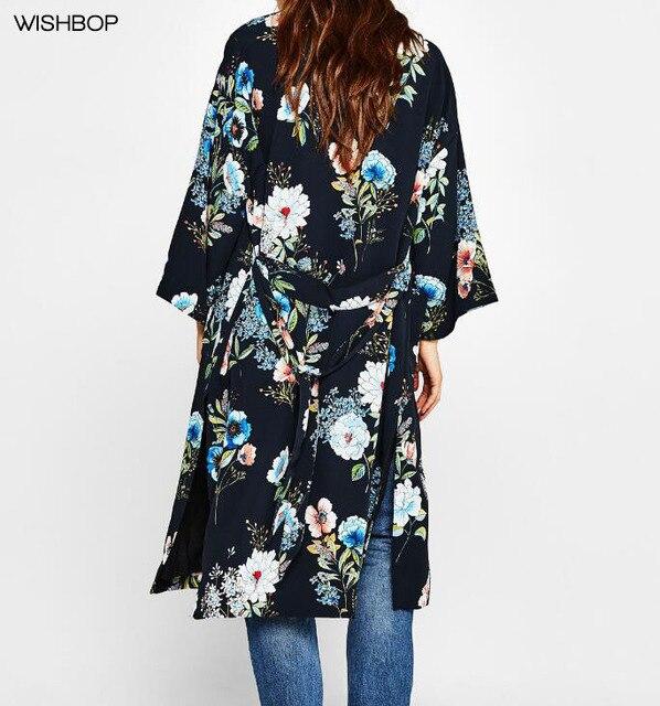 WISHBOP NEW 2018 Woman Spring Navy Floral Print Long Kimono Cardigan Side  Vent Waist Belt Fastening Fashion Blouse Long top 57f56e95aa94