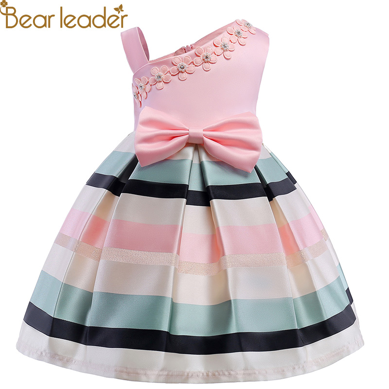 Bär Führer Mädchen Kleider 2018 Neue Mädchen Perle Blume Partei Ärmelloses Kleid Gurt Streifen Prinzessin Bogen Kleid Für 3- 8 jahre