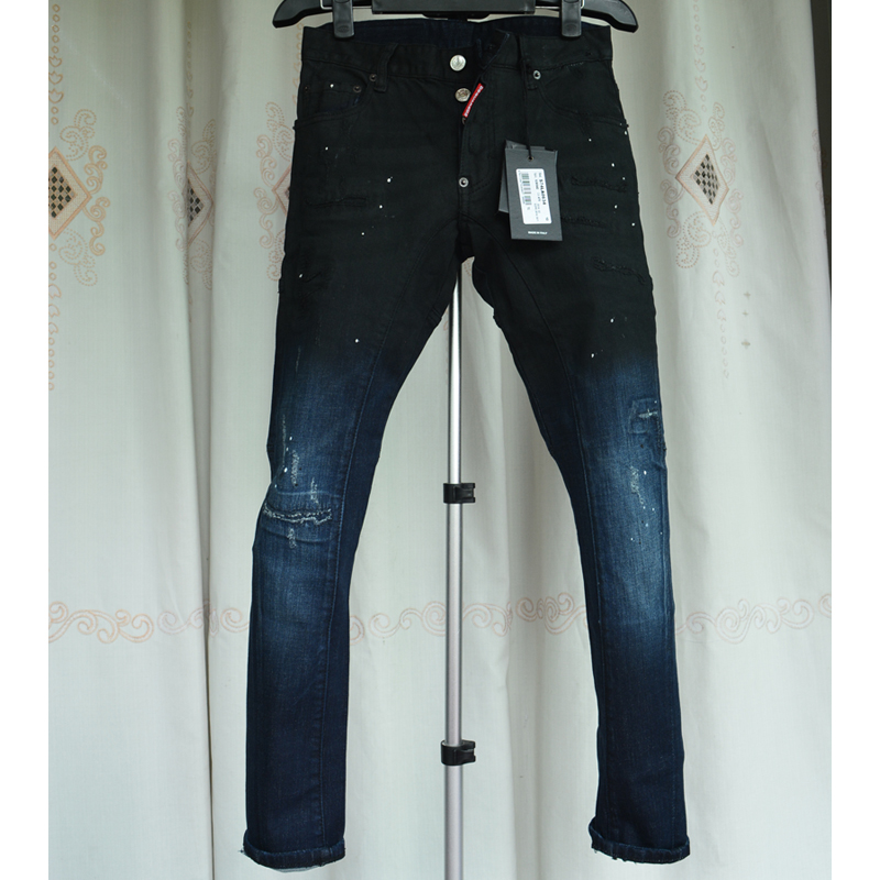 ФОТО  2017  jeans fashion Men Pencil Pants High Waist Jeans Sexy Slim Skinny Pants Trousers Fit Jeans frayed new slim Jeans