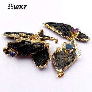 Image 3 - WT P1369 قلادة حديثة الطراز عالية الجودة على شكل ورقة شجر مع حجر دروزي صغير لصنع المجوهرات