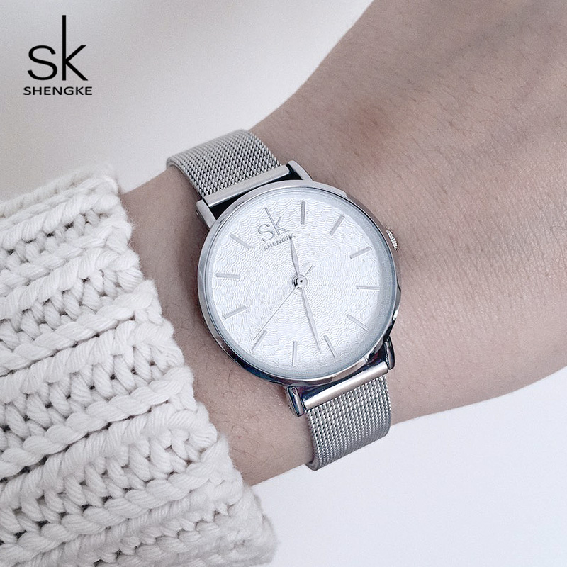Shengke Watches Women Top Brand Luxury Silver Stainless Steel Female Quartz Watch Reloj Mujer 2018 SK Ladies Bracelet Watches shengke top brand fashion ladies watches leather female quartz watch women thin casual strap watch reloj mujer marble dial sk
