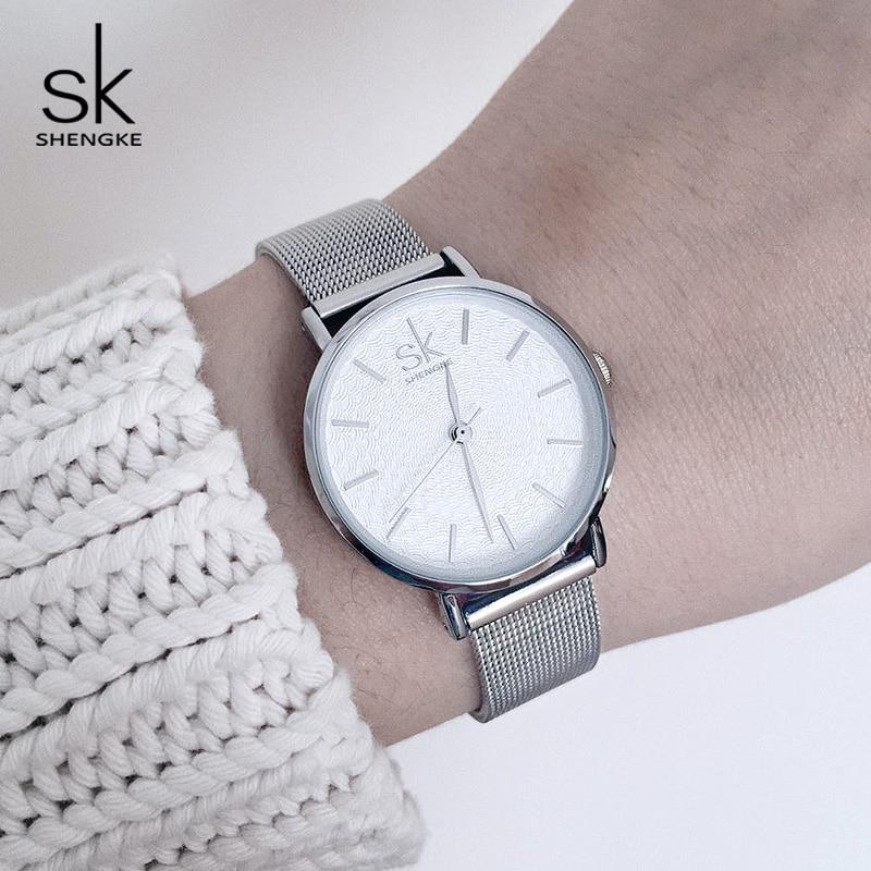 Shengke Relojes Mujer de Primeras Marcas de Lujo de Plata de Acero - Relojes para mujeres