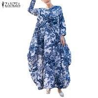 ZANZEA Women Floral Print Long Sleeve Casual Full Length Kaftan Retro Round Neck Maxi Long Dress