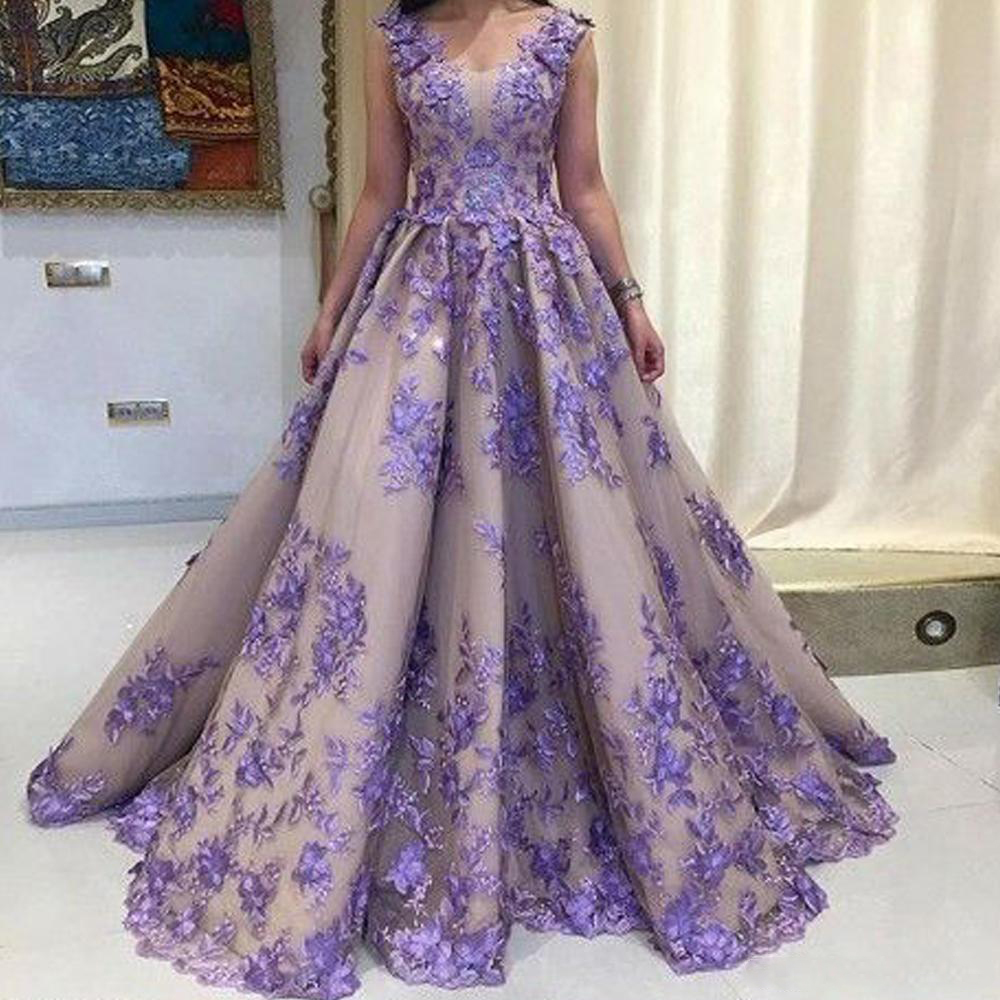 Gorgeous Purple Appliques Long   Prom     Dresses   Ball Gown Floor Length Luxury Engagement   Dress   Lace-up Back Chic Evening Party Gowns