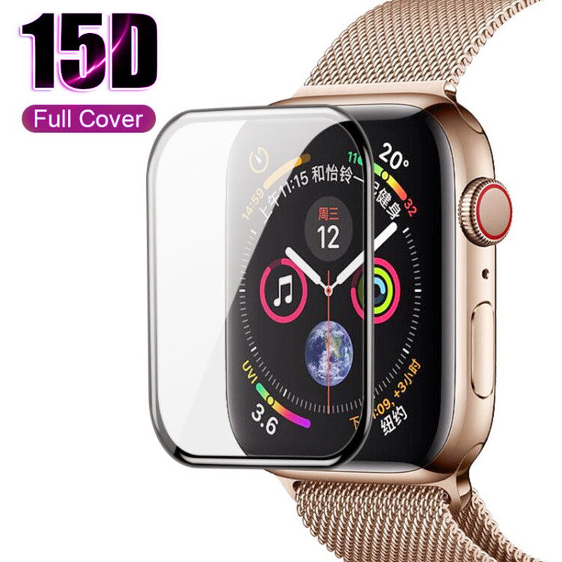 15D Curved Full Cover Tempered Glass For Appple Watch 1 2 3 4 Screen Protector For Iwatch 38 40 42 44mm Protective Glass Film