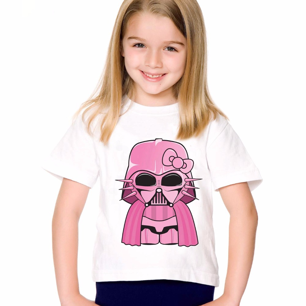18M-10T Print Modal Pink Darth Vader T shirt For Boys/girls Star War T-Shirts for Children Baby Girls Clothing TA177