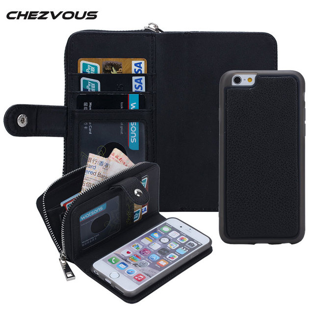 promo code c1cc0 40411 Multifunction Zipper Leather Wallet Magnetic Removable Back Case For iphone  5 5s SE 6 6s 7 plus Flip Cover Card Holder HOT-in Wallet Cases from ...