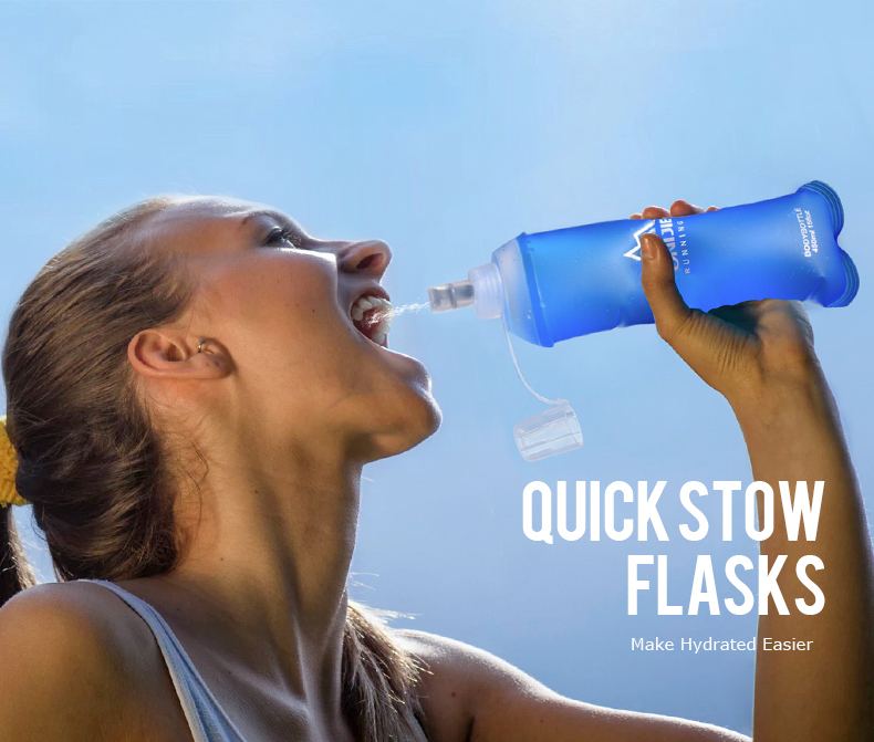 Foto of stow flask water's flask folding TPU for sport. Collapsible flask of water 500ml for hiking
