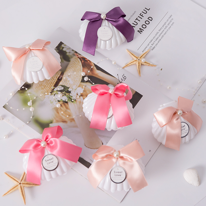 20Pcs/lot Plastic White Shell Wedding Favors Candy Boxes Chocolate Boxes Creative Peal Knot Shell Gift Box Party Deco Supplies