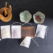 Нетканые 100 шт бумажные пустые нарисованные струнные чайные пакеты с тепловым уплотнением сито травяной листовой чай сумка дуршлаг гаджеты для кухонных новинок