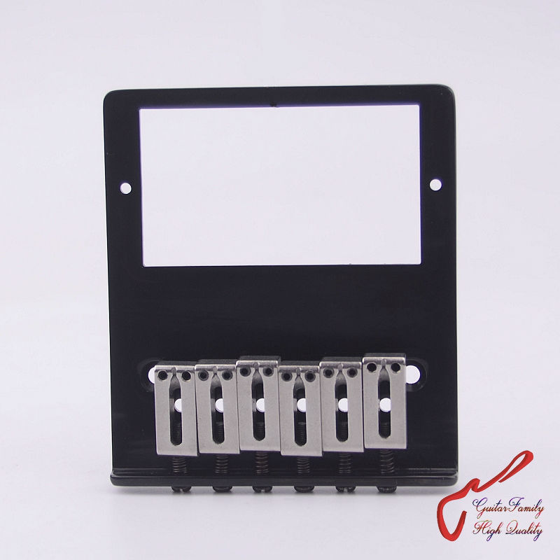 1Set GuitarFamily Super Quantity Humbucker Pickup Fixed Electric Guitar Bridge Stainless Saddle Brass Plate Black MADE IN KOREA 1 set guitarfamily alnico pickup for casino jazz guitar nickel cover made in korea