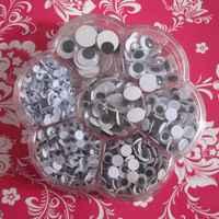 Envío gratis de ojo de plástico con auto-adhesivo 700 unids/caja (mezcla 7 tamaños) 001001001