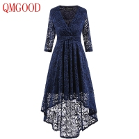 QMGOOD Autumn Women S Party Dresses Asymmetric Length Dovetail Lace Retro Dress Solid Slim Lady Social