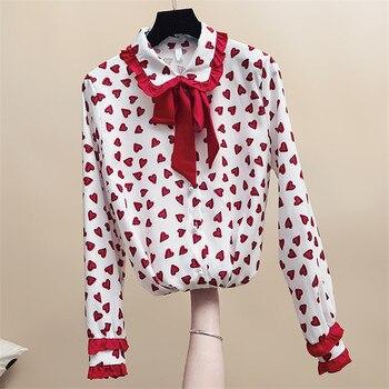 317a62240140 MUMUZI 2019 Весенние новые блузки с длинными рукавами и галстуком-бабочкой  Милая ...