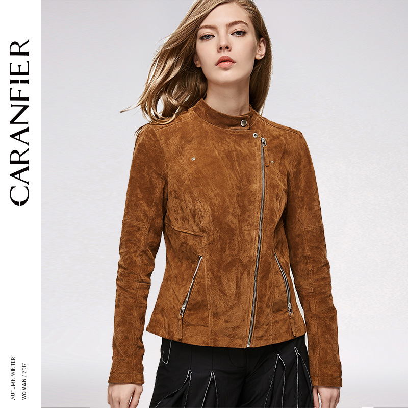CARANFIER 2017 Women Leather Jacket Locomotive Short Fashion Slim Top 100% Pigskin Stand Womans Coat Leather short jacket