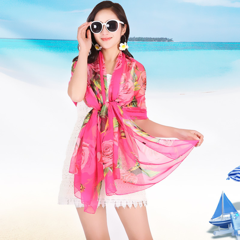 e7cc8ec306 GERINLY Pareo Scarf 150*200cm Sexy Women's Roses Print Chiffon Sarongs  Large Hijab Beach Swimsuit Cover Up Summer Bikini Scarves-in Women's Scarves  from ...