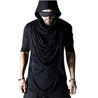 New Fashion Men's UniqueT shirt Camisetas Ripped Tee Shirts With A Hood Funny T Shirts Streetwear Black Half Sleeve T shirt