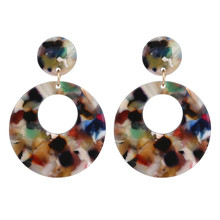 ECODAY Colorful Round Acrylic Earrings for Women Geometric Drop Pendientes Mujer Brincos Earings Fashion Jewelry