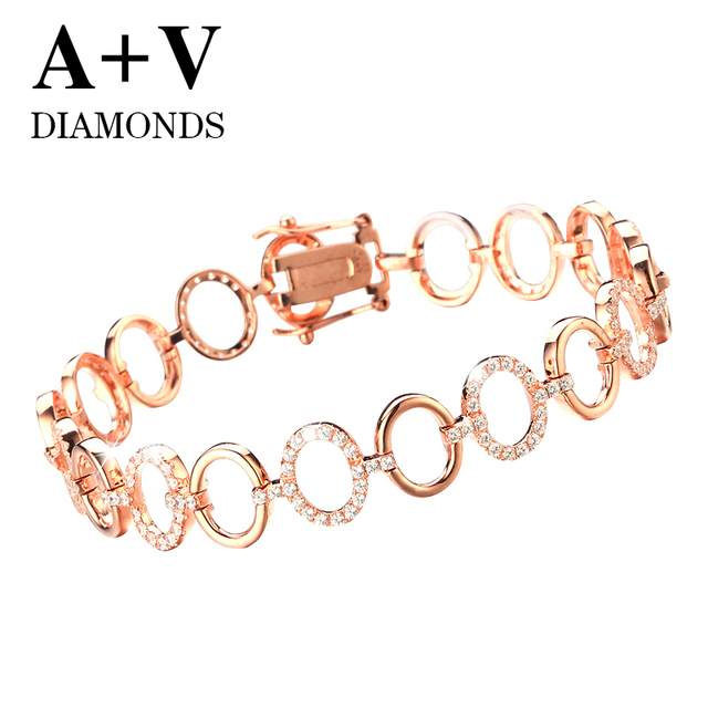 free sjipping 18K rose gold nature diamond luxurious classic  bracelet for lucky  women engagement wedding anniversary