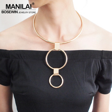 MANILAI Fashion Circular Alloy Torques Choker Necklace Metal Double Layer Loops Statement Pendant Necklaces Women Jewelry