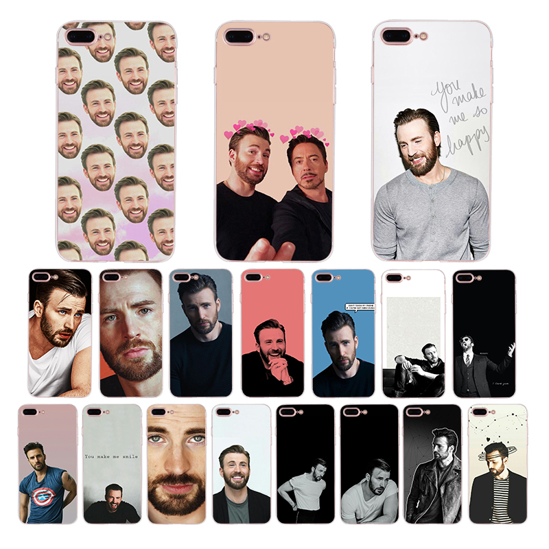 Chris Evans <font><b>Marvel</b></font> Captain America soft cover For iPhone X <font><b>phone</b></font> <font><b>case</b></font> XS max XR 6plus 6s 6 Coque 5 5s SE 7 8 8plus 7plus Funda image