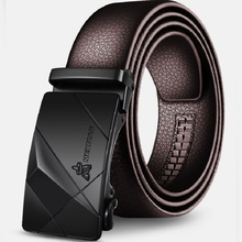 Men's belt leather automatic buckle belt Korean version of the young pure leather wild belt with simple hipster LIN TING HAN стоимость