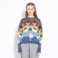 New Arrival 2016 Autumn Winter Women Oneck Long Sleeved Woolen Pullover Playful Patterns Cute Preppy Style