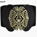 2017 Fashion Women Wide Belt Autumn and winter Style Retro Palace Carved Ms. Girdle Elastic Belt Buckle Wholesale Women's Belts