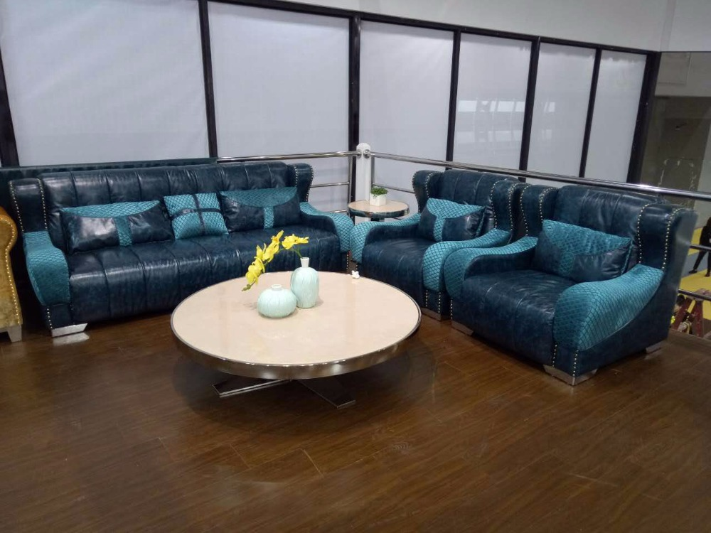 Top Grain Leather Sofa Living Room Furniture 1+1+3 U Shape Made in China free shipping top grain imported double color cattle leather luxury and duration l shaped 3 6 1 8m sofa set grand furniture