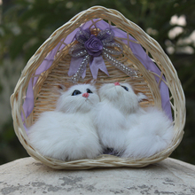 High Quality Handmade Beautiful Fur Covered Plastic Decorative Cat For Sale