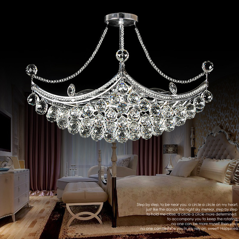Modern Electroplated Crystal Chandelier 6 Lights E14 Creative Metal For Bedroom Dining Room Living Room Suspension Lamp PL546 free shipping silk lantern lights ufo flat section of creative living room bedroom dining hall chandelier