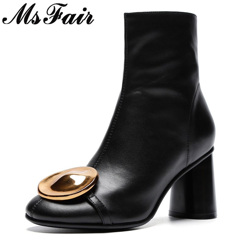 MSFAIR Women Round Toe Square heel Ankle Boots Fashion Crystal Metal Zipper High Heel Ankle Boots Women Shoes Black Boots Woman round toe flat heel zipper ankle boots