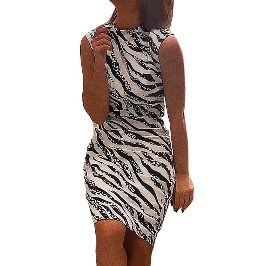 HTB10NSmbsnrK1RjSspkq6yuvXXaU Women's Summer Dress Ladies Sexy Stripe Print Sleeveless Mini Dress Fashion  Bodycon Dresses Elegant Women sexy dresses 2019 NEW