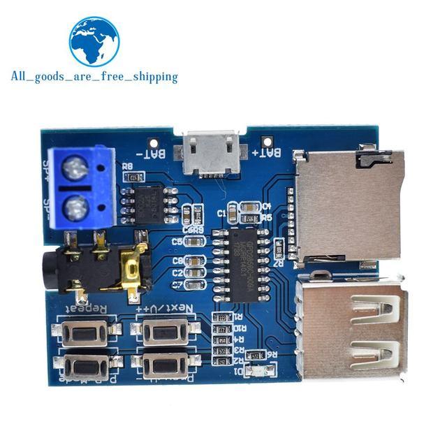 TZT Mp3 nondestructive decoder board Built-in amplifier mp3 module mp3 decoder TF card U disk decoding player