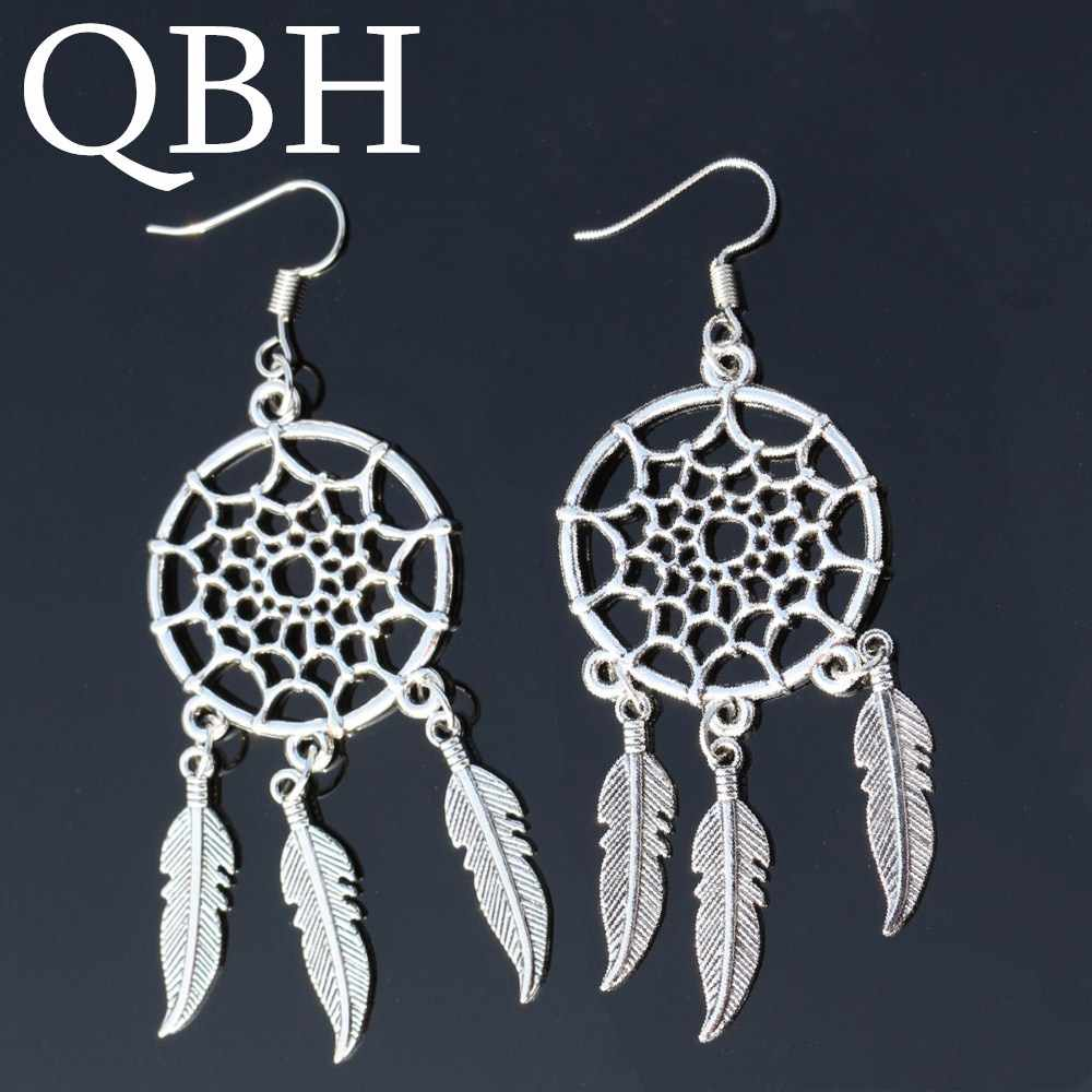 EK102 Dreamcatcher Pendientes Angel Tassel Feather Dangle Earing Bohemian Leaf Drop Earrings For Women Jewelry Brincos oorbellen