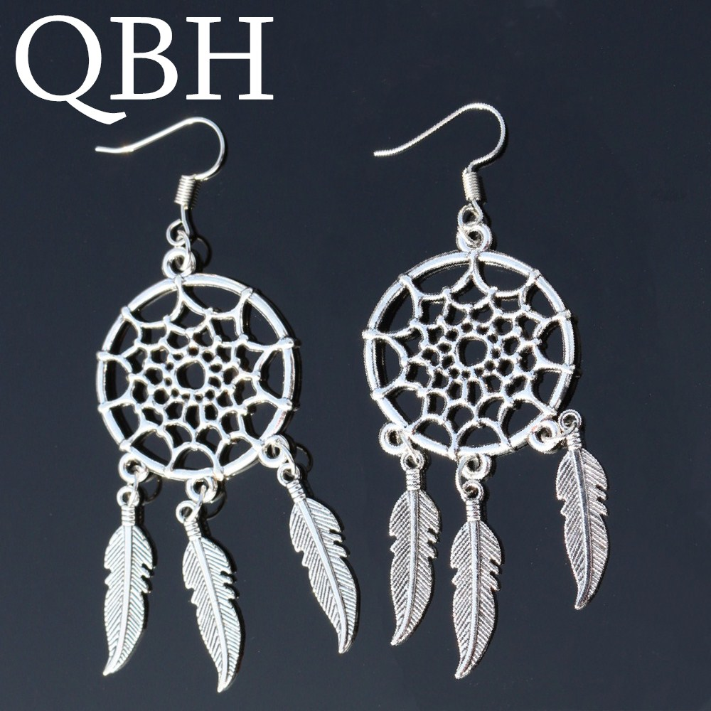 Dreamcatcher Pendientes Angel Tassel Feather Dangle Earing Bohemian Leaf Drop Earrings For Women Jewelry Brincos Oorbellen