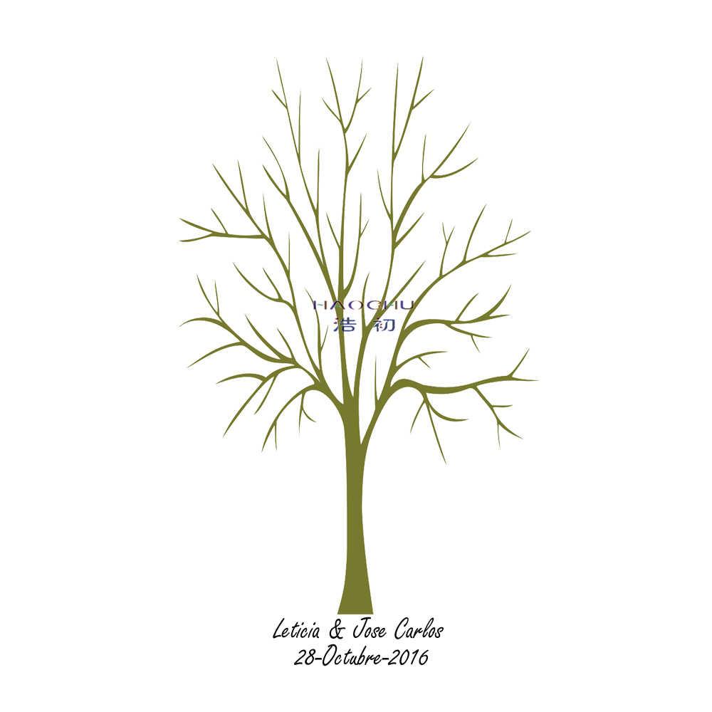Árvore Da Impressão Digital de HAOCHU Assinatura Livro de Visitas Do Chuveiro Do Bebê Xmas Party Decoração Do Ano Novo Para Amigo Presente DIY Pintura + Tinta Pad