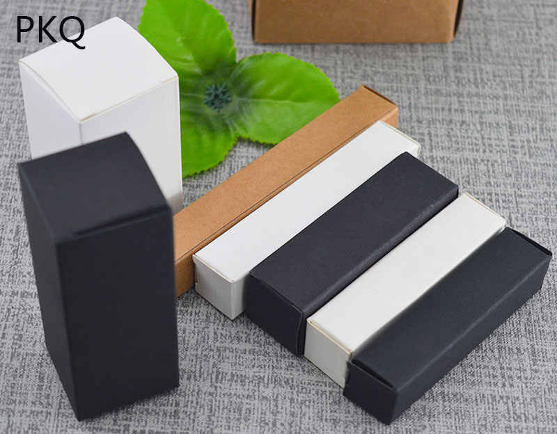 5pcs/lot Kraft Paper Packaging Cardboard Box For Lipstick/liquid bottle/essential oil Bottles Paper Box White/Black/Brown