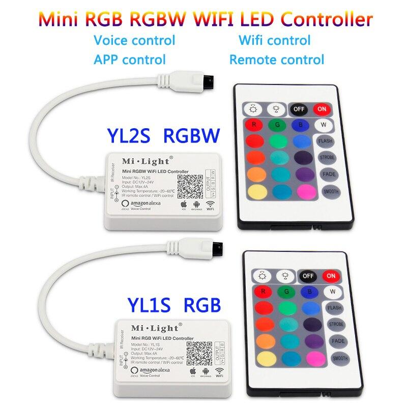 mi light Mini RGB RGBW WiFi LED Strip Controller 24 keys IR Remote Amazon Alexa Voice smartphone APP Remotely Control DC12V-24V