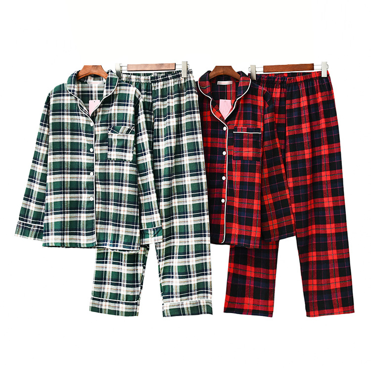 Autumn New Women's Loose Leisure Long Sleeved Pijama Mujer Couple   Pajama     Set   Pure Cotton Plaid Plus Size Sleepwear Pijama Mujer