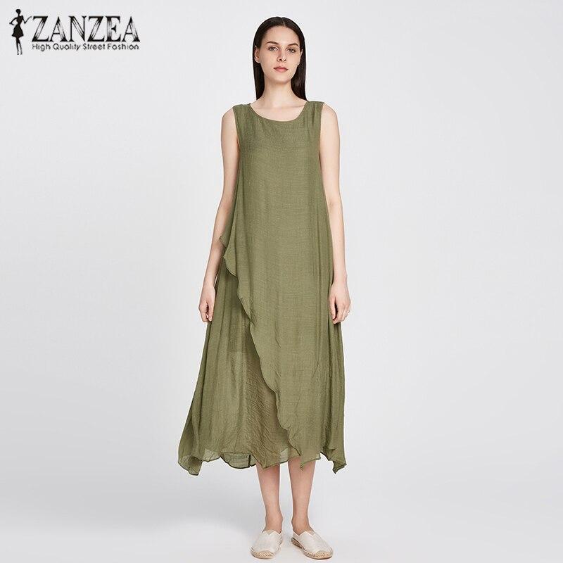 ZANZEA 9 Colors 2018 Summer Style Cotton Linen Maxi Long Dress Sleeveless O Neck Dresses Casual Loose Vestidos Plus Size S-5XL