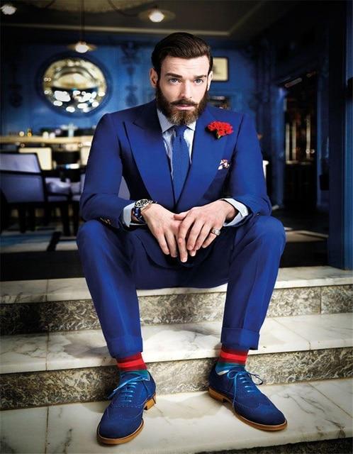 Wedding Party Morning Suits Groom Tuxedos Roral Blue Groomsmen Peak ...