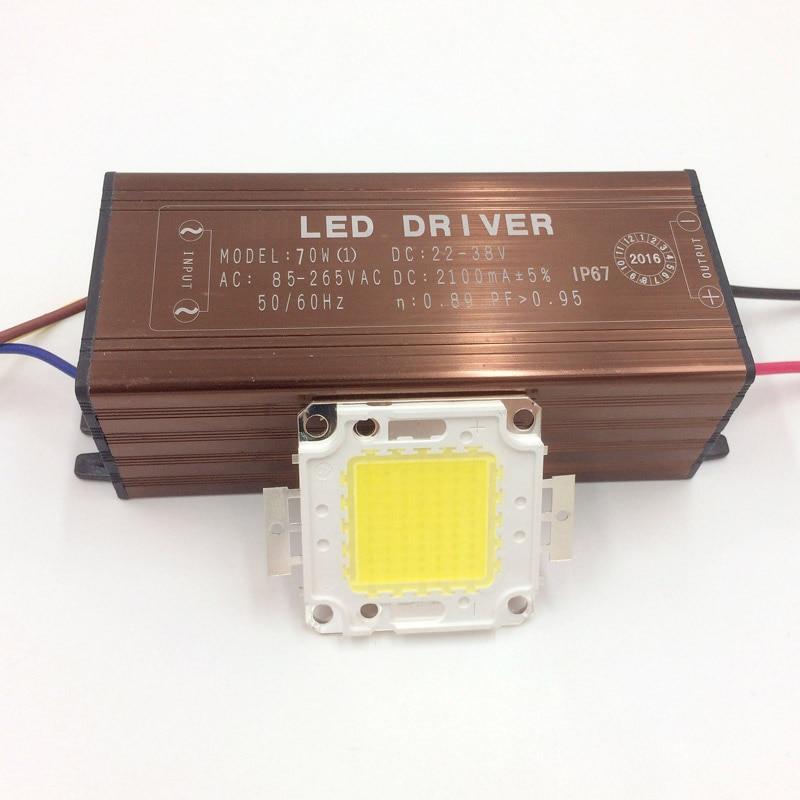 1Sett høyeffekt COB LED-lampe perler flisepærer med driver 10W 20W 30W 50W 70W for DIY flomlys spotlys kald / varm hvit
