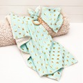 Cotton Baby Bedding Blanket Spots Glod Plus Size Baby Carseat Blanket 3pcs Set Bib Wood Ring Bunny Ear Baby Gift
